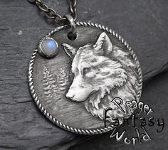Wolf~Moonstone~Engraved Pendant – PeagerFantasyWorld