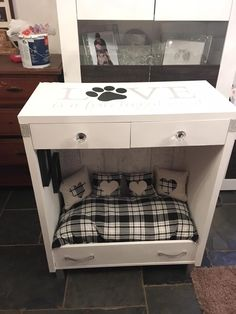 Pet bed/end table/nightstand, this one even has drawers and lightingYou can find Pet beds and more on our website.Pet bed/end table/nightstand, this one even h. Dog Furniture, Diy Furniture Projects, Repurposed Furniture, Furniture Stores, Table Furniture, Animal Room, Dog Bedroom, Puppy Room, Diy Bett