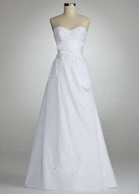 Be the picture of perfection on your special day in this goregous taffetaA line gown!  Sweetheart neckline is chic and ultra-feminine.  Taffeta A line gown features stunning side draped bodice and beaded lace placed throughout.  Sweep train. Available in White. Sizes 0-16.  Fully lined. Back zip. Imported polyester. Dry clean.