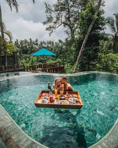 Swim in this infinity pool and enjoy your floating breakfast together with your love. Nothing is better that waking up like this every… Ubud, Hotels And Resorts, Best Hotels, Dream Vacations, Vacation Spots, Vacaciones Gif, Hotel Swimming Pool, Bali Honeymoon, Bora Bora Honeymoon