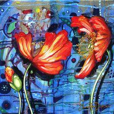 Abstract Orange Poppies --- 200 x 200 x 44 --- Square PRINT on Blocked Canvas | bidorbuy.co.za