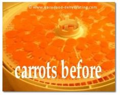 Sliced, sprayed carrots on Nesco dehydrator. More info. at www.easy-food-dehydrating.com