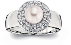 This ring is so classy. Sterling silver with cultured pearl & CZs. Want to wear this every day! www.BillyTheTree.com