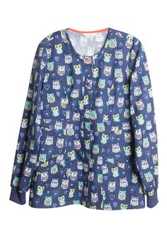 """<p>The cheerful Hoo Has Your Heart print scrub jacket from Code Happy is adorned with lots of owls!  This fun jacket has a convenient snap front, two roomy pockets, and ribbed cuffs.  Code Happy is made with Certainty antimicrobial that provides long-lasting freshness and reliable protection against bacteria.</p> <ul> <li>Round neck <li>Snap front <li>Two pockets <li>Ribbed cuffs <li>28"""": length <li>100 percent cotton</li> <li>Always wash all garments thoroughly after each use. EPA…"""