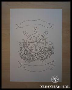 Sebastian Exl   Tattoo Artist; Drawing, 2014, Style: Old School. Ship Wheel with Roses! Ship Wheel Tattoo, Nautical Tattoos, In Memory Of Dad, Anchors, Tatoos, Tattoo Artists, Old School, Piercings, Roses