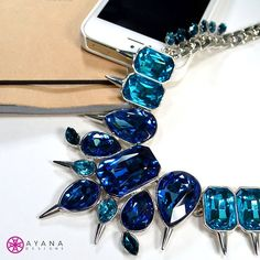 Take notes – The Julius necklace is a must-have for you fashion mavens!  #bling #AyanaDesigns #mystyle #love #fashion #trend #statement #gems #Valentines #VDay #sapphire #Apple #iPhone