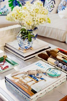 coffee table styling; brushes