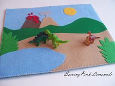 Dino felt play mat!? I want to make felt dinos with googly eyes to go with this one. More car ride fun!