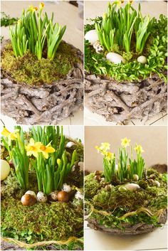 Natural Easter decoration: just do it yourself! Greenery - Easter decoration with nature: DIY Easter basket with moss, wooden wreath, daffodils, eggs, box. Diy Nature, Wooden Wreaths, Diy Spring Wreath, Easter Egg Crafts, Easter Wreaths, Diy Décoration, Easter Baskets, Diy Flowers, Greenery