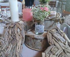 Centros de mesas con maderas del mar