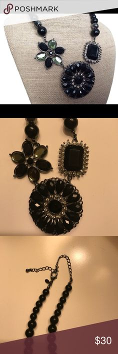 Premier Designs Crochet necklace. Premier designs black necklace. Center pendant can be removed to wear as a brooch. Necklace is so versatile, can be worn multiple different ways! Premier Designs Jewelry Necklaces