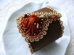 Bead embroidered cuff FLOWER OBSESSION bracelet Shibori by Maewa