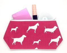 Pink Dog Cosmetic Bag, Dachshund Fabric, Large Makeup Bag, PINK