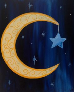 """My """"Crescent with Scrolls"""" painted @ Painting with a Twist Miami"""