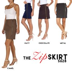 "THE ZIP SKIRT This edgy zip skirt has got that modern ""biker chic"" look to it. In our fabulous ponte fabric, this skirt is a great addition for your fall wardrobe. Add your favorite fall boots and your leather jacket and you will own the night."