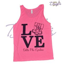 This custom DPhiE Designs tank has us ready for February 14! Design a custom style for the ΔΦΕ in your life!