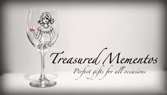 Treasured Mementos Hand Painted Wine Glass... Friend us on Facebook!! :0)