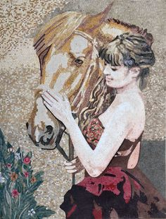 Mosaic Portrait of a Lady in Red and her Horse | Marble Mosaic Art Piece for your Walls | Beautiful to Decorate your Living Rooms or Dining Rooms