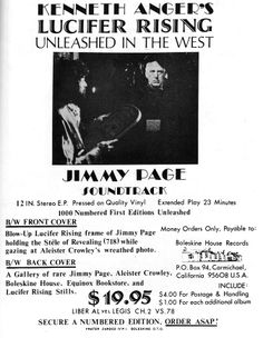 Flyer accompanying the blue vinyl release of the original score for 'Lucifer Rising' - rejected by Anger.