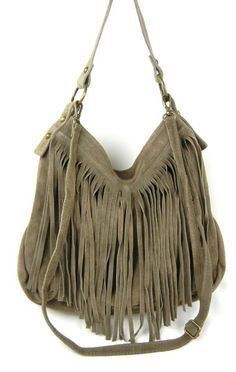 1b6f668bd9c8 Italian suede fringed shoulder bag and crossbody. Zip closure. Fabric  lining with zip inside