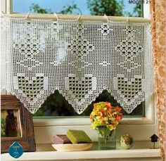 Heart crochet curtain, filet work ♥LCC-MRS♥ with diagram