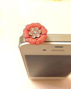Phone dust plug jack flower petal charm jewel by donutsandcoffee, $4.00