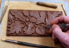 carved clay relief | Handmade Ceramic Tiles, Animal, Pinecone, Flower and Leaf Motifs by terry tile