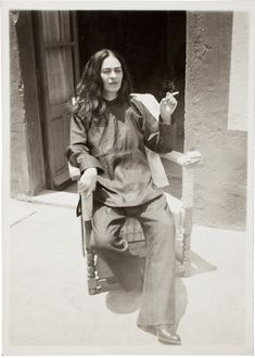 Frida Kahlo after an operation, 1946 (photo taken by Antonio Kahlo)
