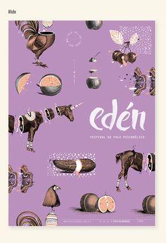 Diseño de identidad para el festival de folk psicodélico EDEN.DG3 Catedra Gabriele | FADU | UBA 2013