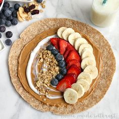 One of the ways I make it through the day is with these easy peanut butter and banana breakfast and snack wraps. You can add any combination of fruits, granola, honey, yogurt, ets to make them into a great breakfast or snack option.