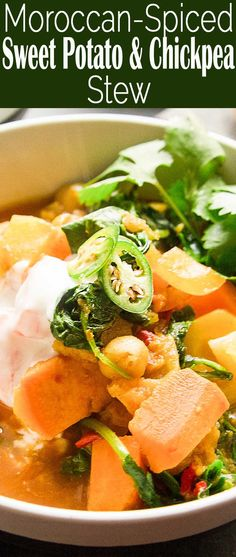 Moroccan-spiced Vegetable Chickpea Stew! 30 min cook time, vegan, gluten-free, seasoned with ras el hanout spice mix (cumin, coriander, ginger, and cinnamon)