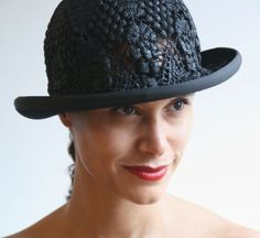 unique handmade hats: Style Charly made from black vintage doily