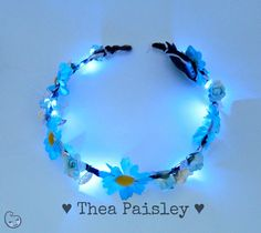 EDC rainbow Glow Flower Crown Cochella flower crown by theapaisley, $33.00