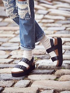 17d9215bfd9 Two adjustable leather buckle straps with metal hardware.  By SixtySeven  Free People Shoes Platforms