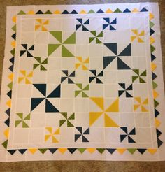 Windy Days quilt using Best. Day. Ever! Fabric and adding prairie points