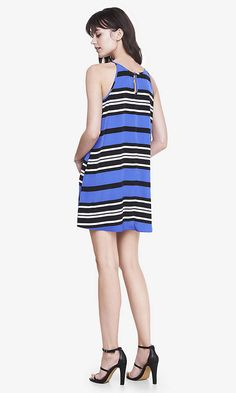 Striped Sleeveless Trapeze Dress | Express