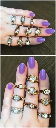 Antique Victorian and Georgian era diamond rings with enamel details. At Erstwhile Jewelry Co.