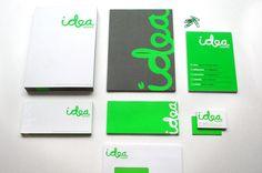 Business card, lime green, handwrittenish type