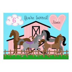 Kids who love horses will love our I Love Horses birthday invitations featuring a pink horse barn and several horses, a blue sky, green grass, pink heart, and areas you can easily customize with all her birthday party specifics! #birthdays #cute #customized #kids #birthdays #photo #cards #childrens #birthday #horses #farm #horse #barn #ponies #personalized #peacockcards #fun #affordable #inexpensive #equine