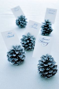 Winter ONEderland First Birthday Party Using pine cones as place card holders is ideal for the winter wonderland theme.Using pine cones as place card holders is ideal for the winter wonderland theme. Wedding Places, Wedding Place Cards, Wedding Table, Diy Wedding, Wedding Flowers, Dream Wedding, Wedding Day, Trendy Wedding, Wedding Reception