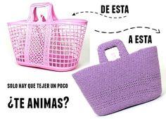 Patrones Crochet: Capazo de plastico convertido a capazo tejido