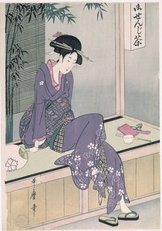 Woman Sitting on Veranda by Kitagawa Utamaro (喜多川 c. Museo Nacional del Prado (Spain), MFA Boston has a version with a yellow counter, pink kimono, and no writing on the upper right (accession # . Japanese Painting, Japanese Prints, Chinese Painting, Aesthetic Japan, Japanese Aesthetic, Japanese Illustration, Illustration Art, Botanical Illustration, Art History
