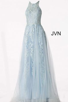 """Jovani JVN64157 sleeveless Embellished & embroidered A line tulle prom dress Black/White, Hunter, Light Blue, Lilac, Navy, Royal, Silver/Nude, Wine *Don't see the color you need? Type style # in search bar for more options! Closure: Invisible Back Zipper. Hook and Eye Closure. Details: Embroidered tulle, embellished with heat set stones, sleeveless fitted bodice, sheer jewel neckline, sheer close back, flare A line floor length skirt. Fabric: 100% Polyester Fit: The Model is 5'9"""" Wearing 3"""" Baby Blue Prom Dresses, Pageant Dresses For Teens, A Line Prom Dresses, Tulle Prom Dress, Homecoming Dresses, Lace Dress, Formal Dresses, Blue And Silver Dress, Light Blue Wedding Dress"""