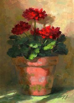 "Daily Paintworks - ""Geraniums in Light"" by Linda Jacobus"