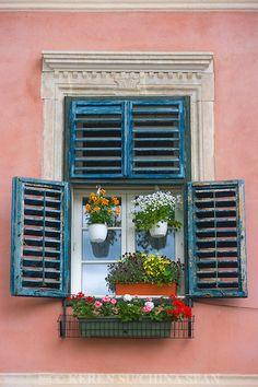 Sibiu, Transylvania, Romania Window Shutters, Window Boxes, Old Windows, Windows And Doors, Window Reveal, Window Planters, Unique Buildings, My Art Studio, Window Treatments