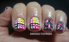 Stripey Punk Nail Art