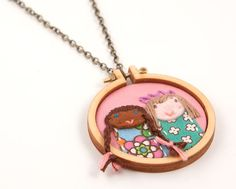 Handmade custom portrait necklace made from embroidery - we're blown away by these!