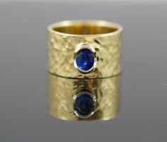 14K Gold Natural Sapphire Ring.  Cigar Band Ring. by AletheiasLair