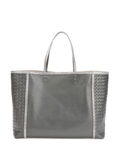 433f84411eca BOTTEGA VENETA Medium Snake & Napa Tote Bag, Black. #bottegaveneta #bags