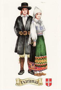 The traditional costumes of Harjumaa. Estonia